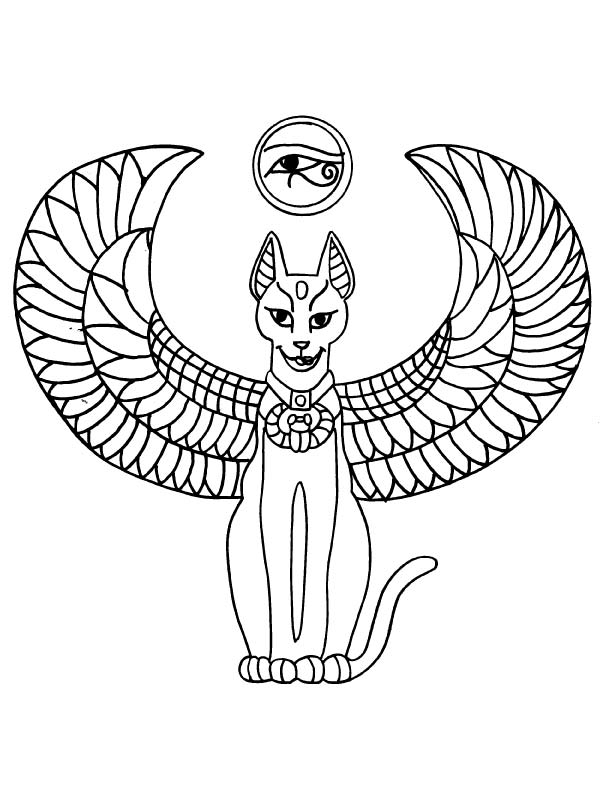 Egyptian Winged Cat And Eye Sign Tattoo Design