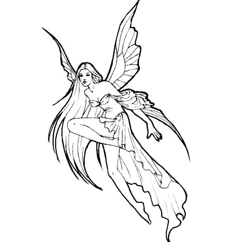 Elegant angel fairy tattoo design
