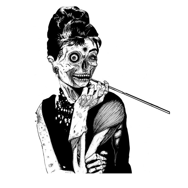Elegant black-and-white zombie lady with a long sigarette tattoo design