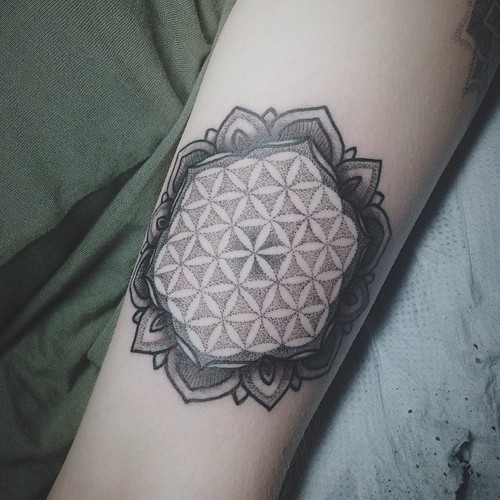elegant black ink flower of life tattoo on arm. Black Bedroom Furniture Sets. Home Design Ideas