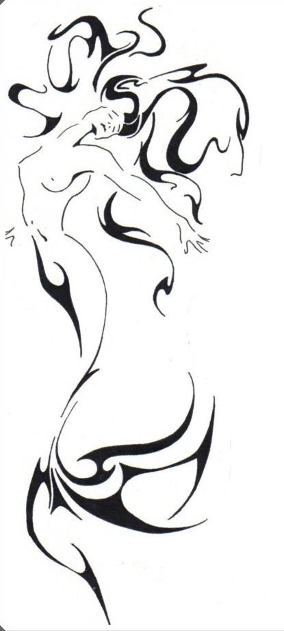 Elegant black-ink tribal-style mermaid tattoo design