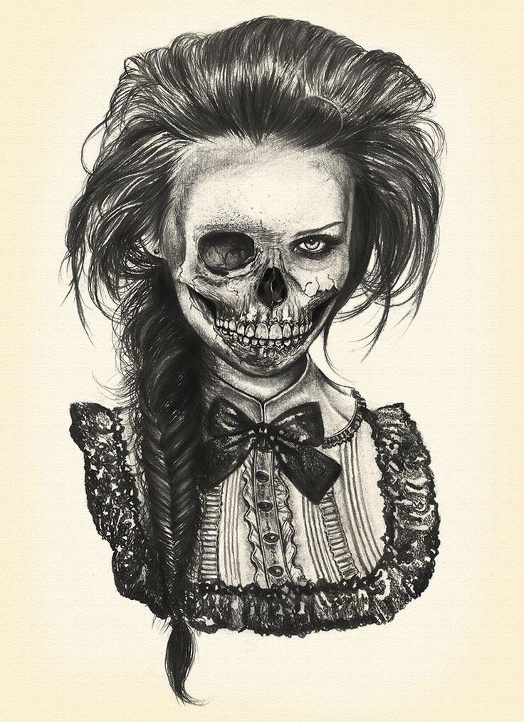 Elegant black-ink zombie girl portrait tattoo design