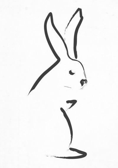 Elegant black-line hare silhouette tattoo design
