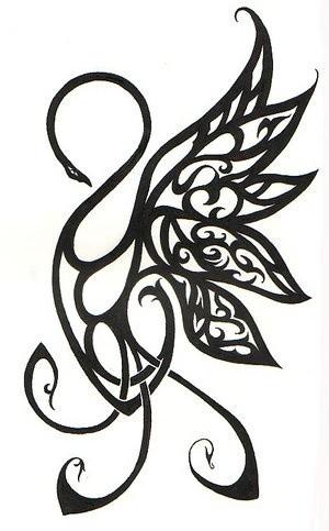 Elegant black curly line swan tattoo design