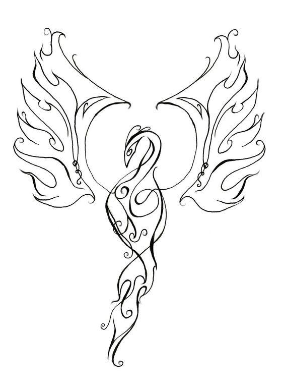 elegant black decorated line phoenix silhouette tattoo design. Black Bedroom Furniture Sets. Home Design Ideas