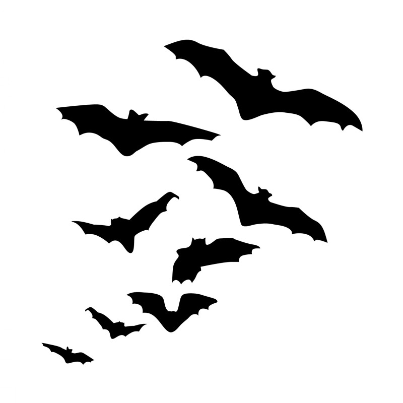 Elegant black flying bat flock tattoo design
