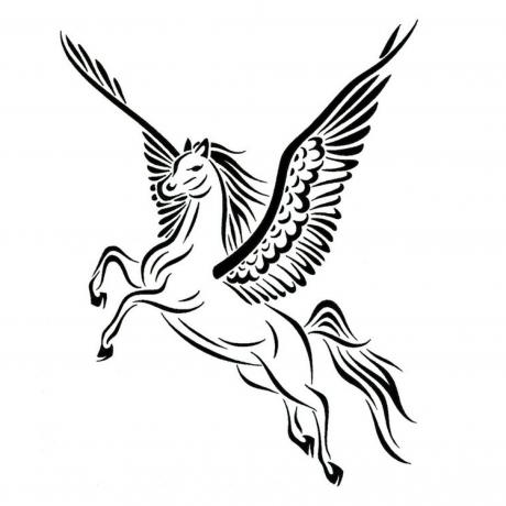Elegant black flying pegasus tattoo design