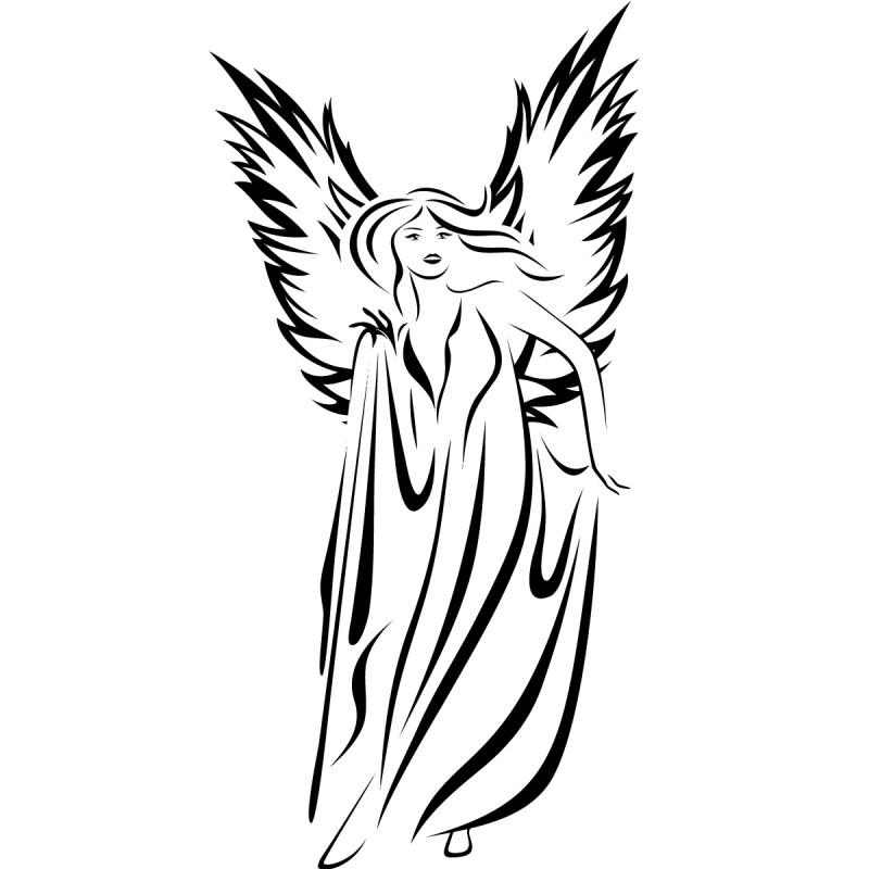 Elegant black tribal style angel woman tattoo design