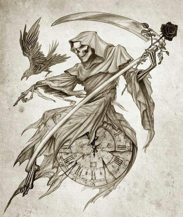 Elegant death sitting on the clock with rose and flying raven tattoo design