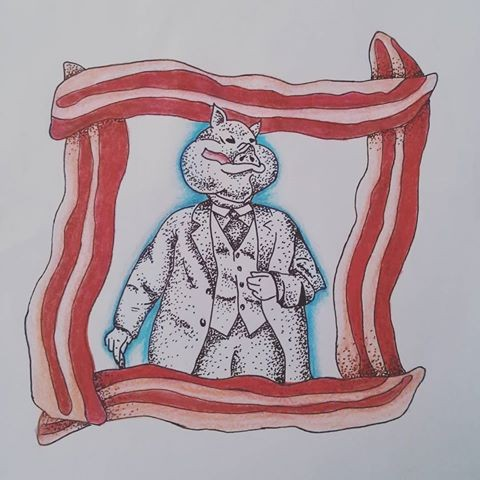 Elegant dotwork dressed mr pig in red squared frame tattoo design