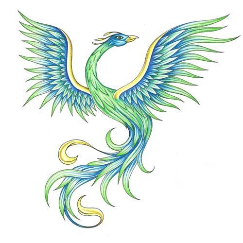 Elegant freedom blue-and-green phoenix tattoo design