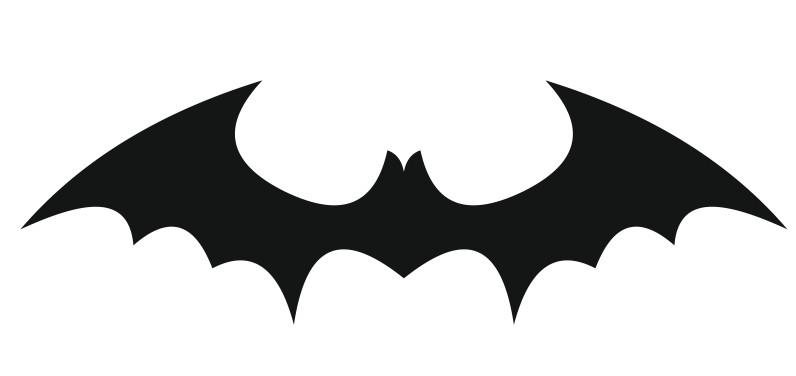 Elegant full black bat emblem tattoo design