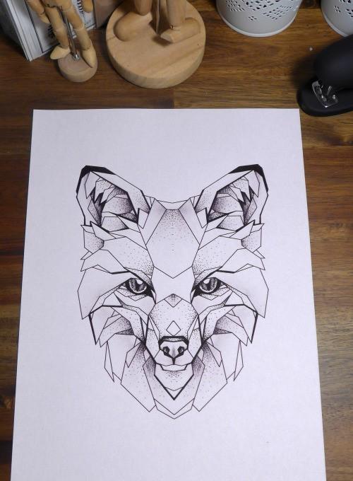 Elegant geometric fox muzzle tattoo design