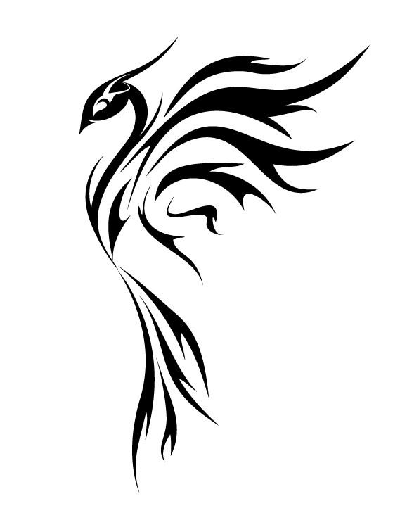 Elegant girly black-ink phoenix bird in profile tattoo design