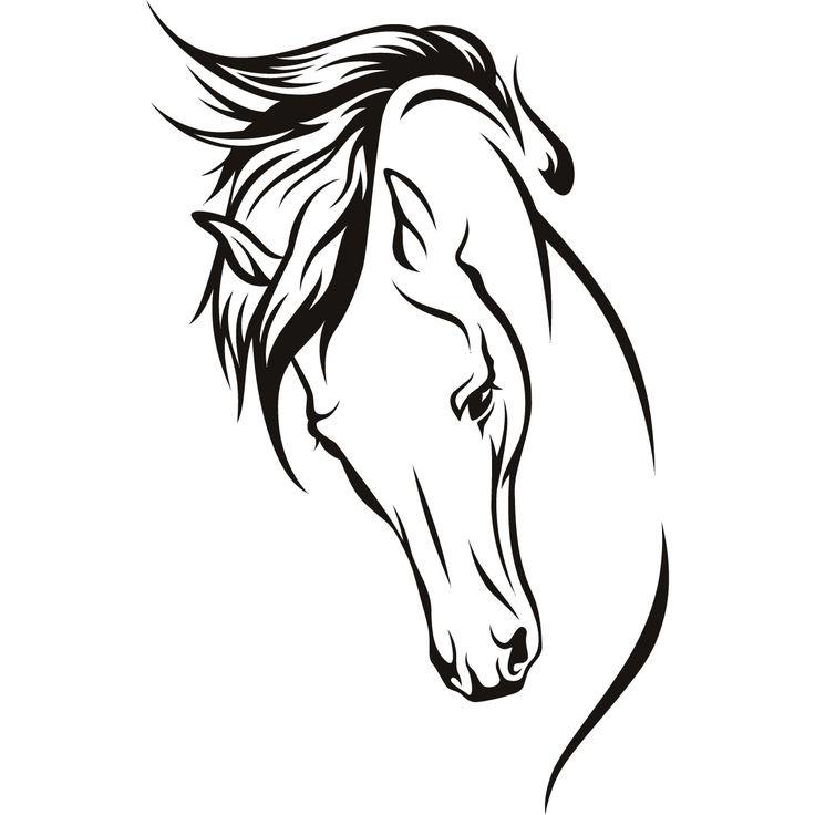 Elegant girly lined horse portrait tattoo design