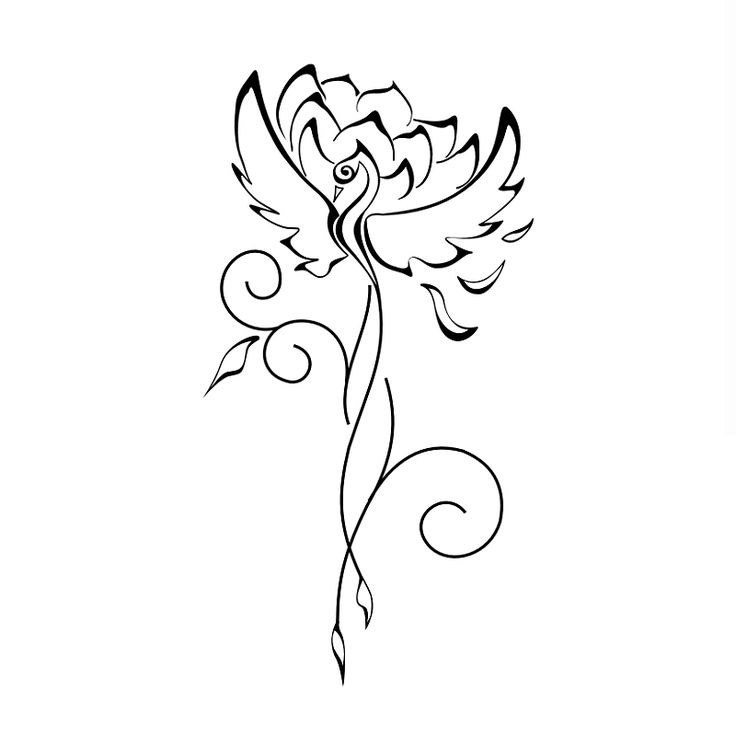 Elegant girly outline phoenix with lotus flower silhouette tattoo design