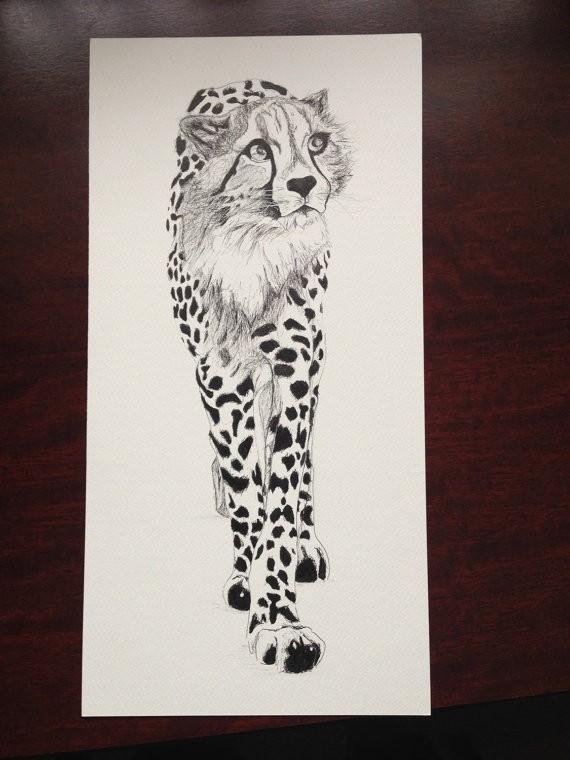 Elegant grey-ink cheetah wathing something tattoo design