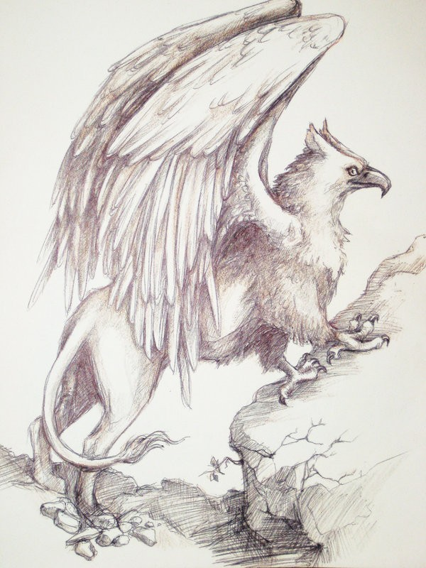 Elegant grey pencilwork griffin at the rock tattoo design by Dragon Spark