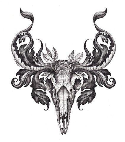 Elegant grey ram skull with herbal leaves tattoo design