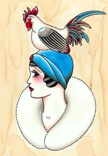 Elegant lady in blue hat and white rooster tattoo design