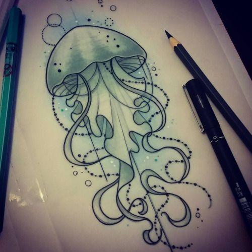 Elegant new school jellyfish in turquoise light tattoo design
