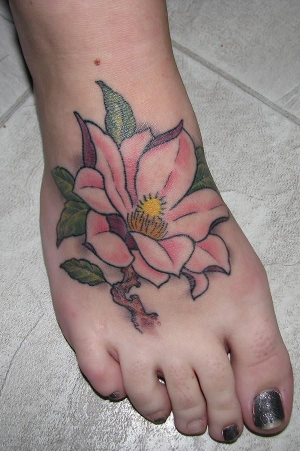magnolia foot tattoo - photo #2