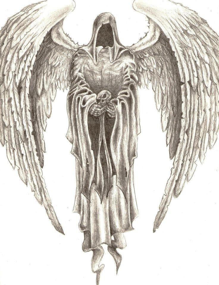 Elegant pencilwork death angel tattoo design