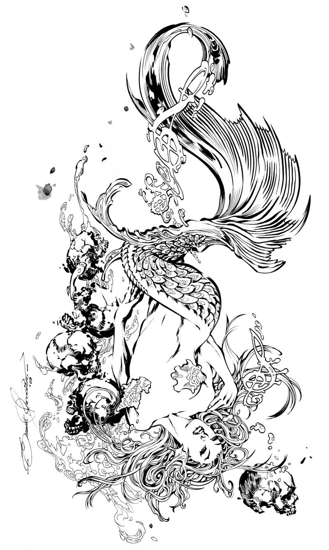 Elegant pretty black-and-white mermaid splashing in water tattoo design