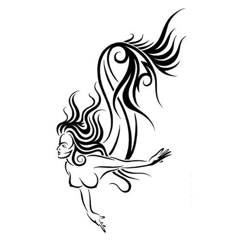 Mermaid Tattoo Line Drawing : Elegant tribal style swimming mermaid tattoo design