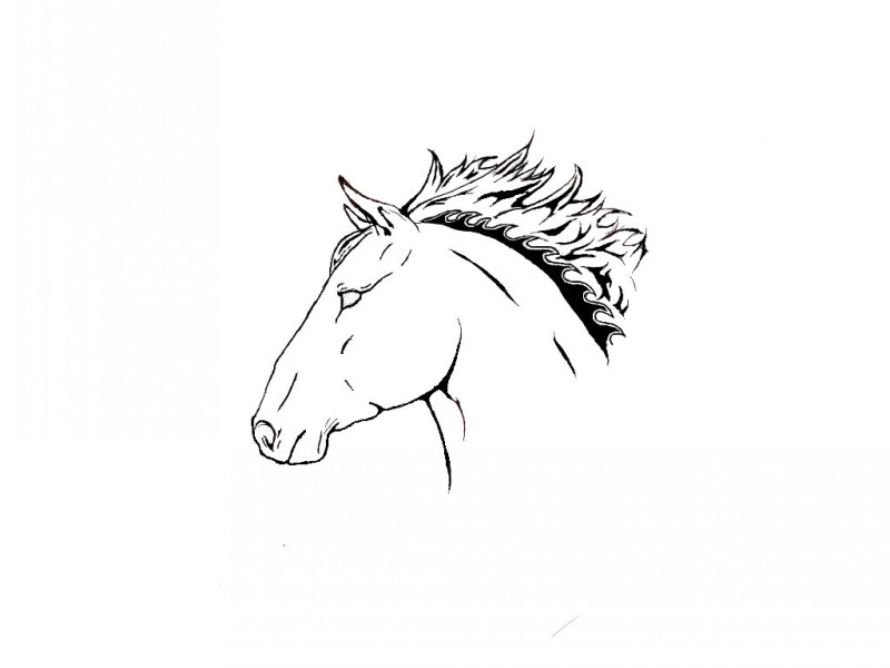 Elegant uncolored horse head with fire mane tattoo design