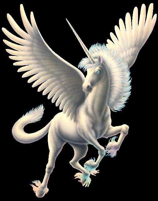 Elegant white pegasus with a horn tattoo design