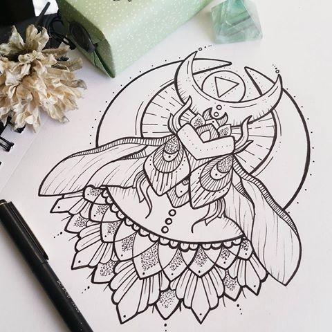 Elegant winged bug with reversed moon and half-mandala background tattoo design