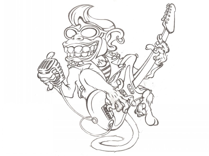 Elvis monkey playing a guitar tattoo design