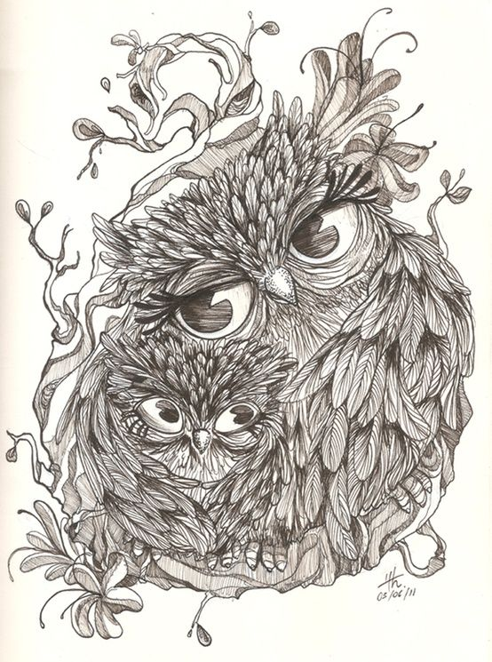 Embracing grey mom and baby owl tattoo design