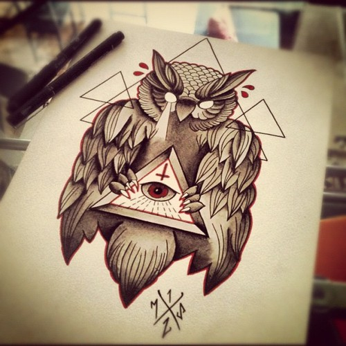 Empty Eyed Owl With Illuminati On Red Triangle Drawing Tattoo Design