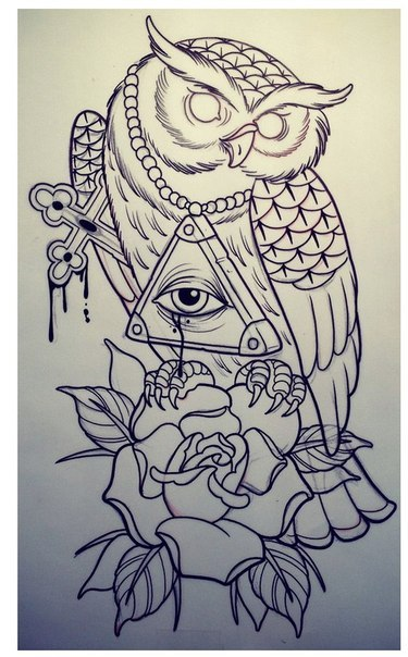 Empty-eyed owl with rose and sacred elements tattoo design