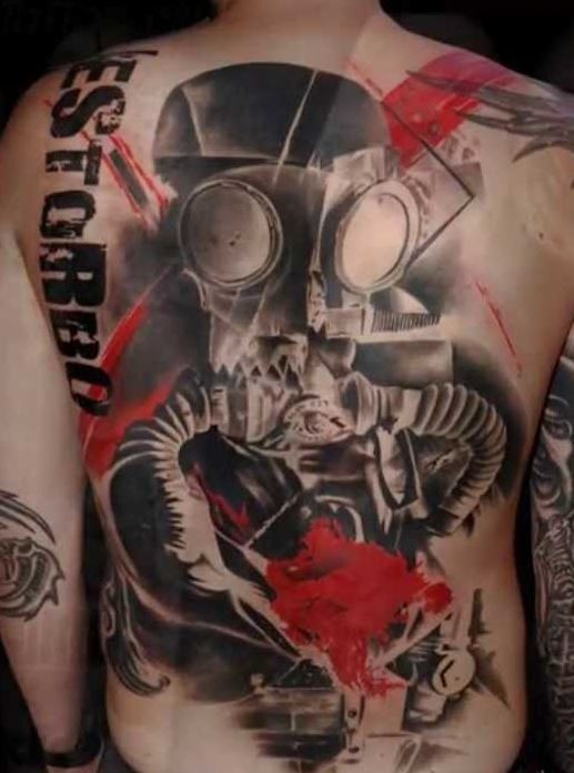 Enormous multicolored whole back tattoo of military gas mask and lettering