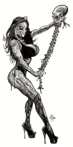 Erotic black-and-white zombie woman keeping a human skeleton tattoo design