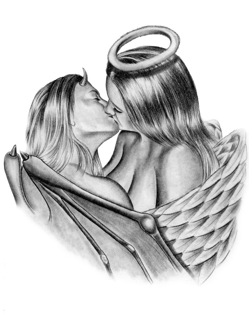 Erotic pencilwork kissing devil and angel lovers tattoo design