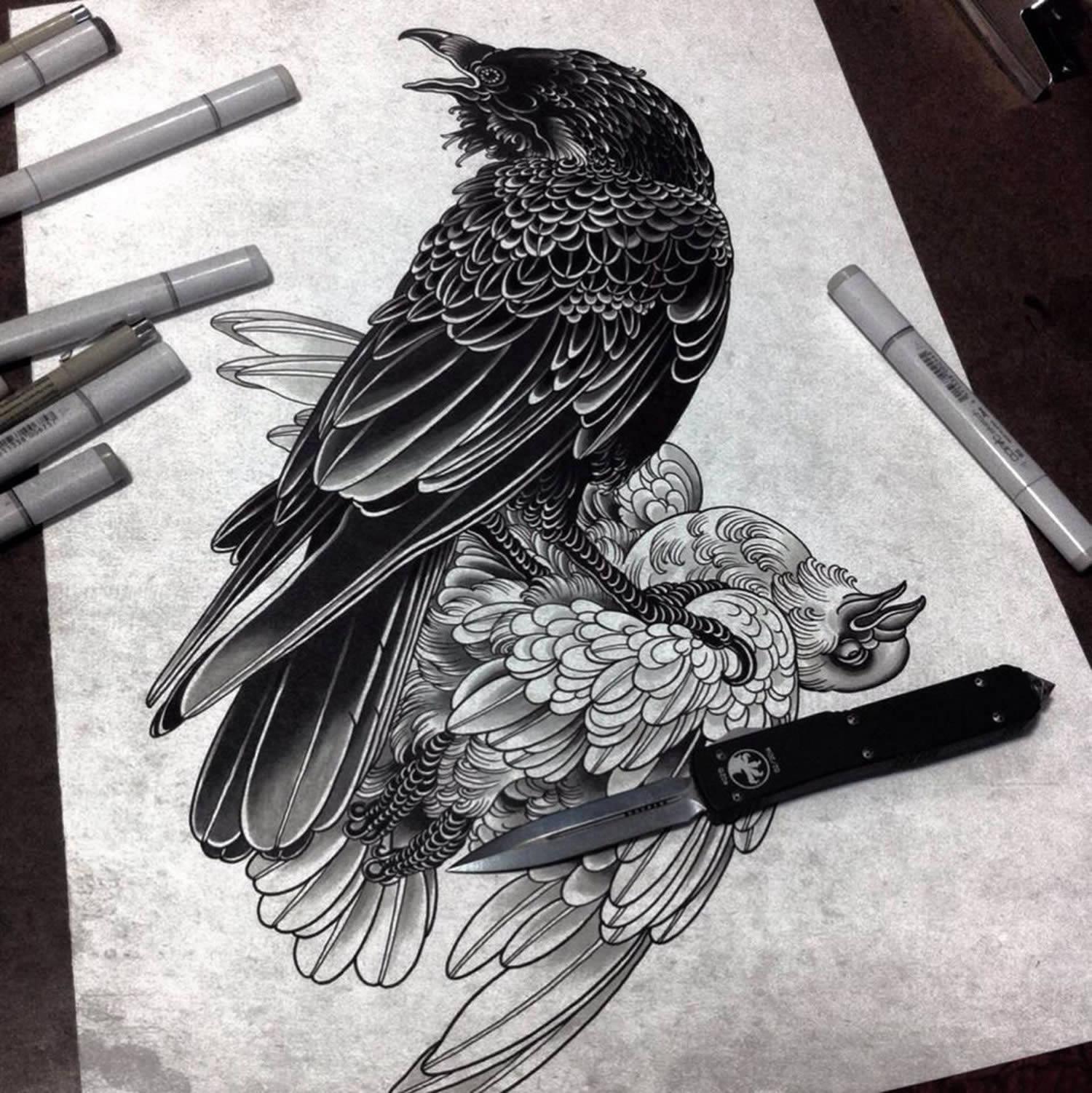 evil and good bird fight tattoo design by alexander grim. Black Bedroom Furniture Sets. Home Design Ideas