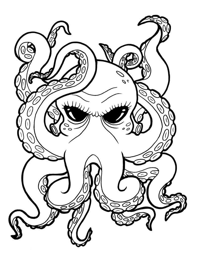 Evil black-eyed octopus tattoo design
