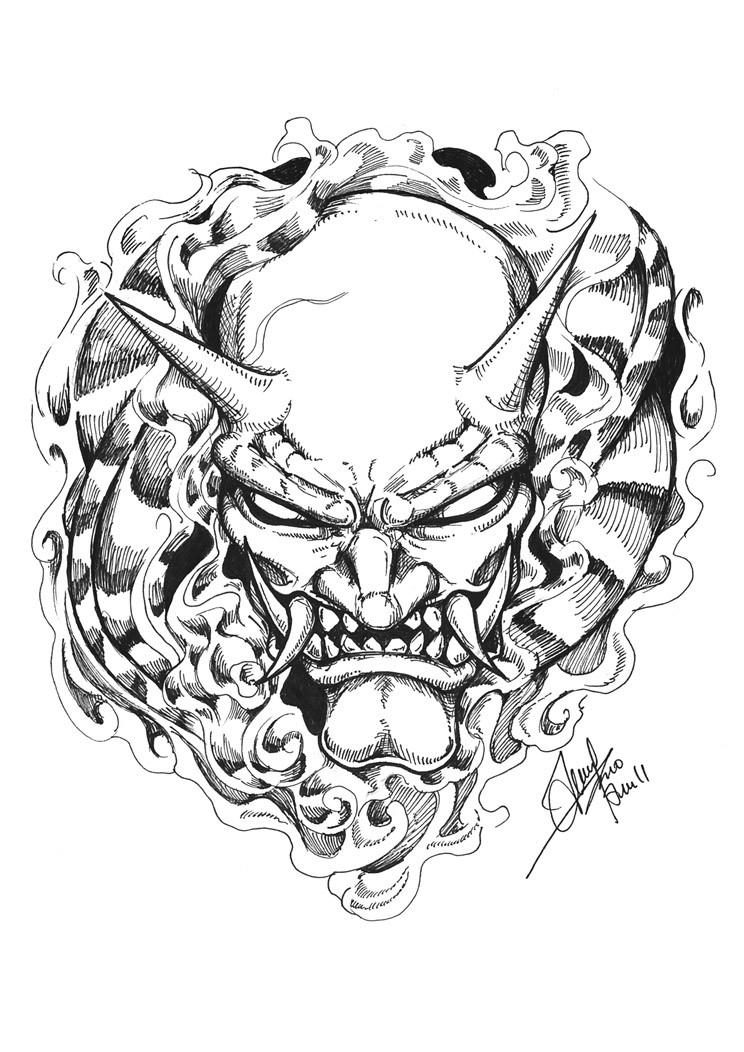 Evil black-ink blind-eyed devil in flame tattoo design
