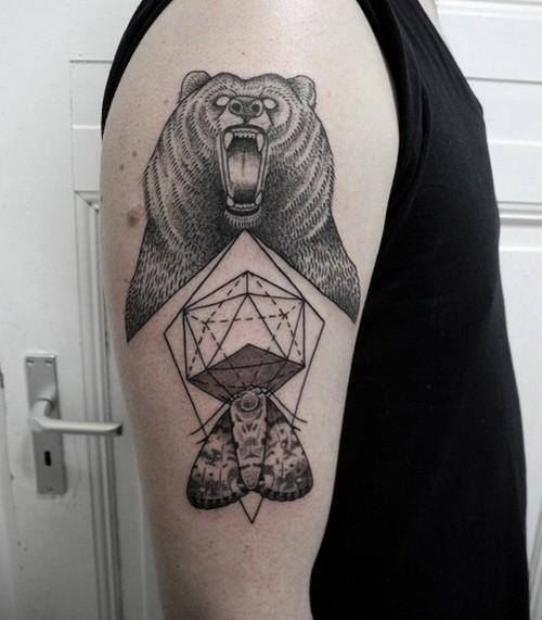 Black Bear Head Tattoo