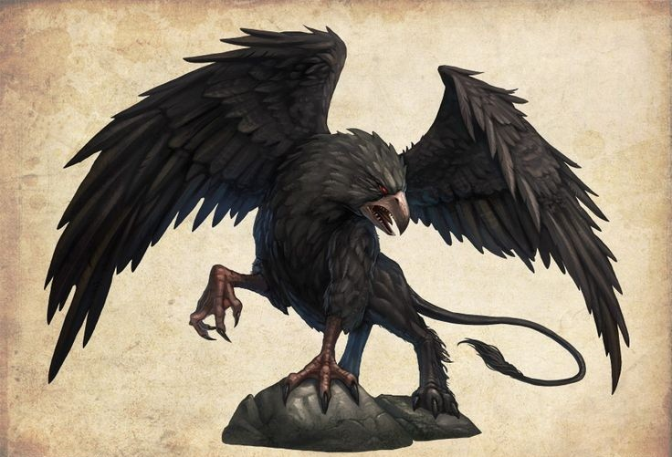 evil black griffin with red eyes standing on rock tattoo design. Black Bedroom Furniture Sets. Home Design Ideas