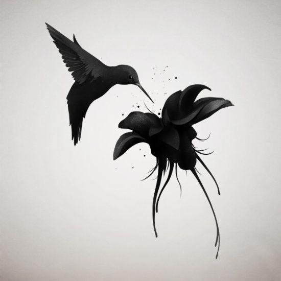 Evil black hummingbird with a dark hibiscus flower tattoo design