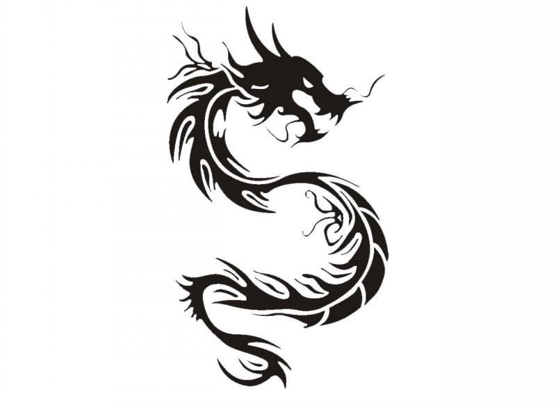 Evil black tribal dragon emblem tattoo design
