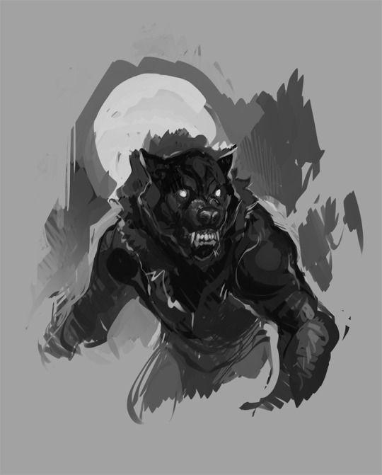 Evil black werewolf on white full moon background tattoo design