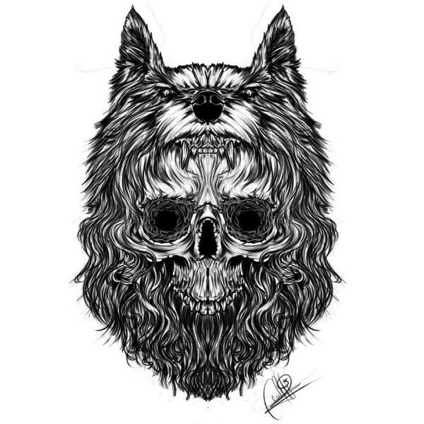 Evil black wolf with a skull in fur tattoo design
