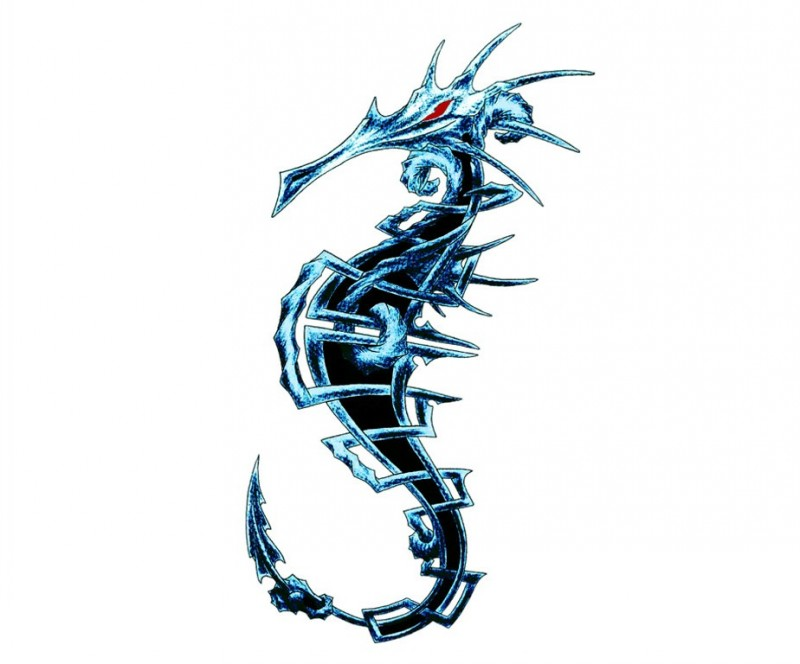 Evil blue-and-black seahorse with rageful red eyes tattoo design