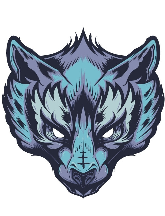 Evil blue-color wolf muzzle emblem tattoo design